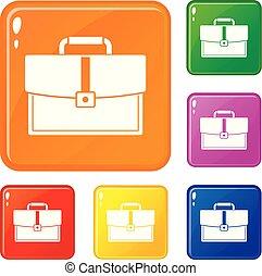 állhatatos, aktatáska, ügy icons, szín, vektor
