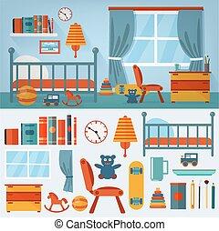 állhatatos, apró, hálószoba, belső, gyerekek, berendezés