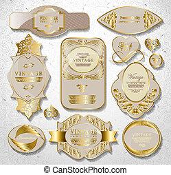 állhatatos, arany, szüret, címke, retro, fehér