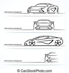 állhatatos, autó, elvont, sport, négy, silhouettes.
