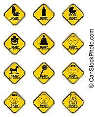 állhatatos, autó, jelkép, sárga, rombusz, háttér., bizottság, cégtábla, csecsemő, warning., fehér, böllér
