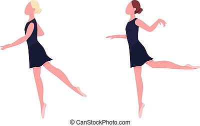 állhatatos, balerina, vektor, szín, lakás, gyakorló, ismeretlen, betű