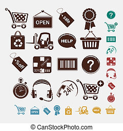 állhatatos, bevásárlás, ikonok