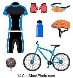állhatatos, biciklizés, ikonok, elszigetelt, ábra, háttér., vektor, fehér