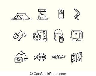 állhatatos, camping., természetjárás, ikonok, idegenforgalom, egyenes