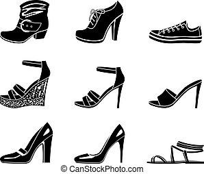 állhatatos, cipő, womanish, ikonok