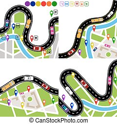 állhatatos, city., jelzett, kanyargás, vehicles., térkép, infographics., ábra, közútak, út, navigator., signs., mozgalom