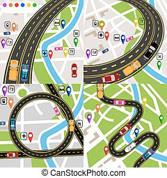 állhatatos, city., jelzett, plans., vehicles., stylized térkép, infographics., ábra, út, navigator., út, mozgalom