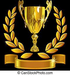 állhatatos, csésze, siker, arany, koszorú, nyerő, vektor, black háttér, borostyán, fényes, szalag