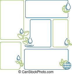 állhatatos, csepp, hajtás, ökológia, víz, keret, transzparens