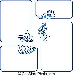 állhatatos, csepp, lenget, loccsanás, víz, keret, transzparens