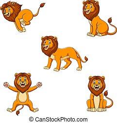 állhatatos, csinos, oroszlán színlel, különböző, karikatúra