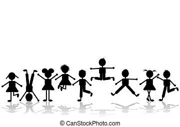 állhatatos, csoport, játék, 2, gyerekek, boldog