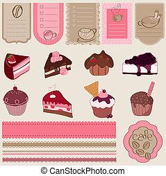 állhatatos, desszert, -, elem, édesség, tervezés, scrapbook