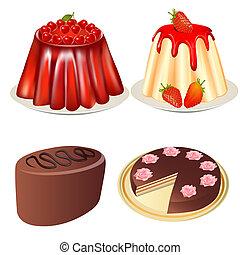 állhatatos, desszert, zselé, földieprek, cseresznye torta