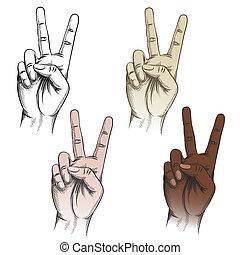 állhatatos, diadal, gesztus, ujjak
