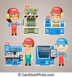 állhatatos, dolgozó, munkás, gyár, karikatúra, gépek