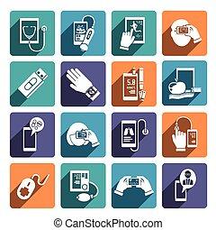 állhatatos, egészség, digitális, ikonok