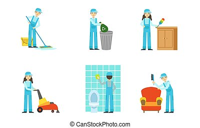 állhatatos, egyenruha, illustration., vektor, takarítónők, work.