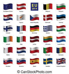 állhatatos, egyesítés, ország, od, zászlók, európai