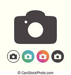 állhatatos, egyszerű, jelkép, fényképezőgép, tervezés, ikon