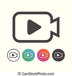 állhatatos, egyszerű, jelkép, fényképezőgép, tervezés, video, ikon
