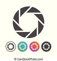 állhatatos, egyszerű, jelkép, redőny, fényképezőgép, tervezés, ikon