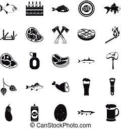 állhatatos, egyszerű, mód, kempingezés, ikonok
