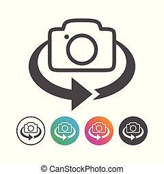 állhatatos, egyszerű, megfricskáz, fényképezőgép, tervezés, 360, ikon