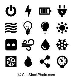 állhatatos, elektromos, ikonok