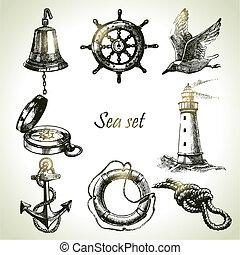 állhatatos, elements., kéz, tervezés, tenger, tengeri, ábra, húzott
