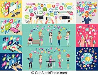 állhatatos, elements., média, táblázatok, infographic, társadalmi, más