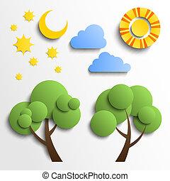 állhatatos, elhomályosul, hold, elvág, icons., dolgozat, fa, csillaggal díszít, nap, design.