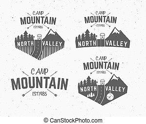 állhatatos, elnevezés, motorhome, hódeszka, külső, tervezés, jel, vadon, hegy, kempingezés, szüret, utazás, csípőre szabott, erdő, húzott, insignia., badge., felfedező, jelkép, kéz, kaland, rv, ikon, tábor, vektor
