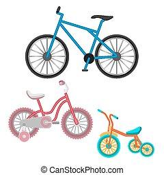 állhatatos, elszigetelt, ábra, gyakorlatias, bicycles, vektor, fehér