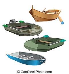 állhatatos, elszigetelt, ábra, gyakorlatias, vektor, csónakázik, fehér