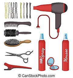 állhatatos, elszigetelt, ábra, háttér., vektor, fehér, eszközök, frizura