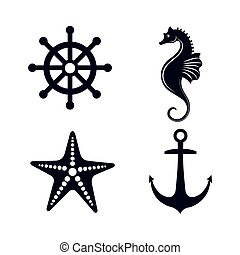 állhatatos, elszigetelt, tenger, ikonok