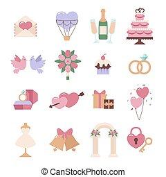 állhatatos, elszigetelt, vektor, háttér, esküvő, fehér, ikon