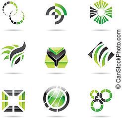 állhatatos, elvont, ikonok, zöld, 9, különféle