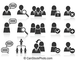 állhatatos, emberek, jelkép, ikonok, fekete, társadalmi