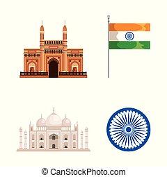 állhatatos, embléma, india lobogó, építészet, mahal, taj