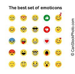 állhatatos, emoticons., emoji., elszigetelt, icons., vektor, ábra, háttér, mosoly, fehér