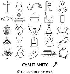 állhatatos, eps10, áttekintés, ikonok, kereszténység, jelkép, vallás, vektor