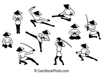 állhatatos, eps10, harcos, japenise, ábra, action., vektor, fekete, arcmás, fehér