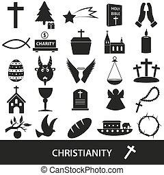 állhatatos, eps10, ikonok, kereszténység, jelkép, vallás, vektor