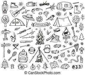 állhatatos, erdő, kempingezés, ikonok