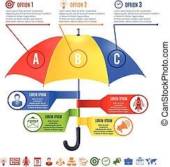állhatatos, esernyő, infographics