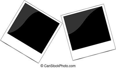 állhatatos, fénykép keret, polaroid, elszigetelt, fehér