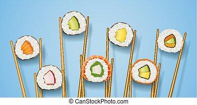 állhatatos, fast-food, sushi, gyűjtés, különféle, ingredient., hengermű